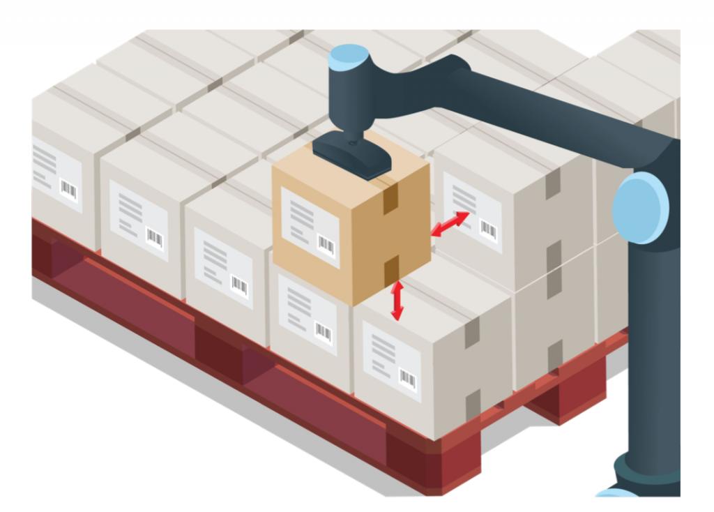 Palko - ukladanie krabičiek štítkami smerom von