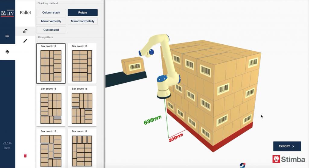 PALLET BUILDER - zostavenie vzorcov paletizovania na webe